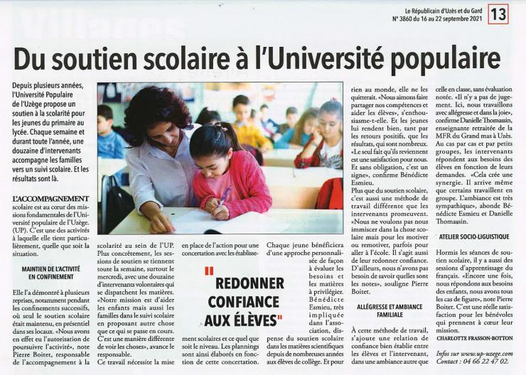 16/09 | De l'accompagnement à la scolarité à l'Université Populaire