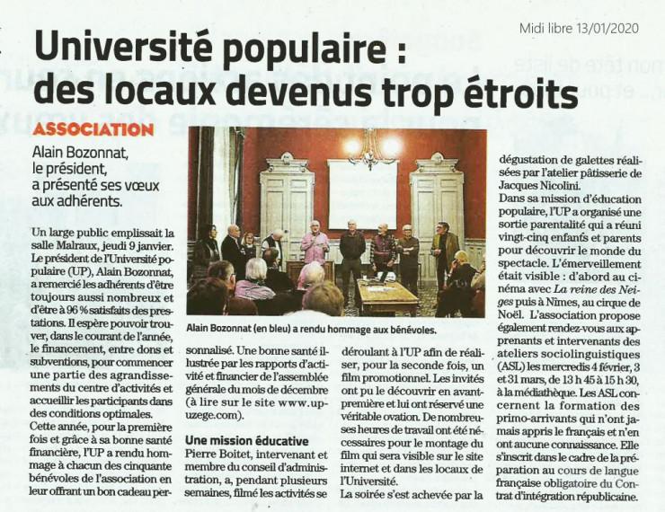 13/01 | Université populaire : des locaux devenus trop étroits