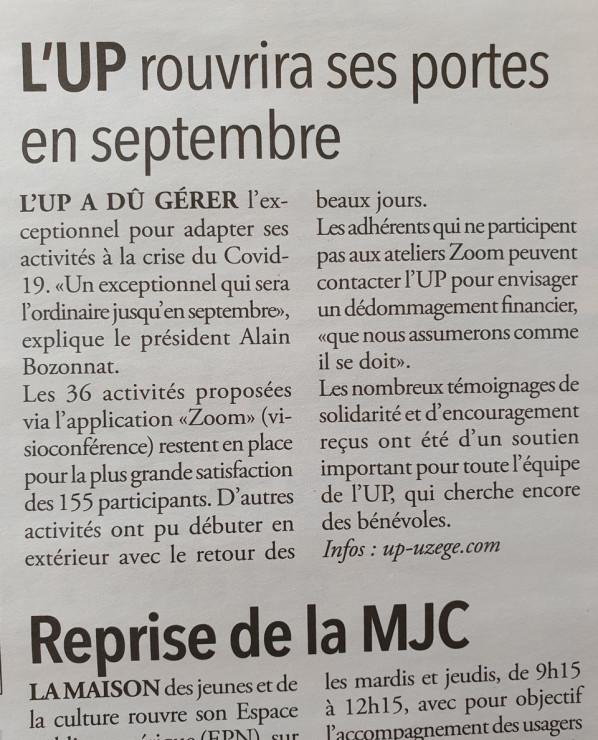 18/06 | L'UP rouvrira ses portes en septembre
