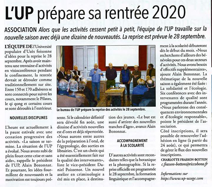 16/07 | L'UP prépare sa rentrée 2020
