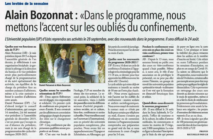 20/08 | Alain Bozonnat : Dans le programme, nous mettons l'accent sur les oubliés du confinement.