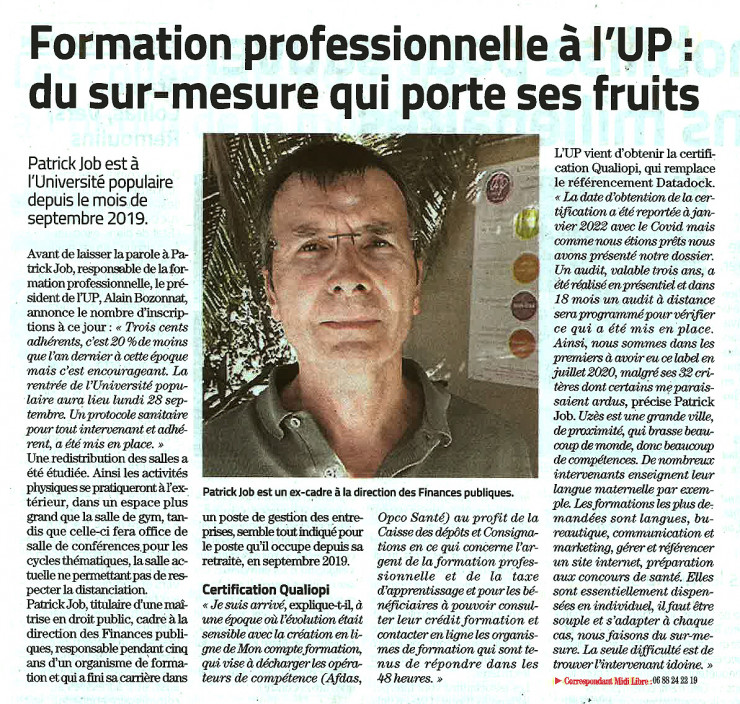 23/09 | Formation professionnelle à l'UP : du sur-mesure qui porte ses fruits.