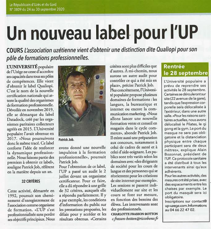24/09 | Un nouveau label pour l'UP