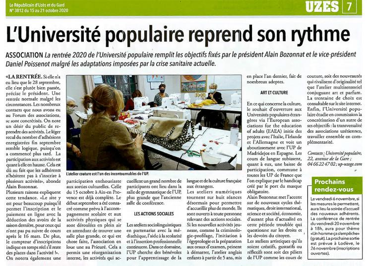 15/10 | L'Université Populaire reprend son rythme