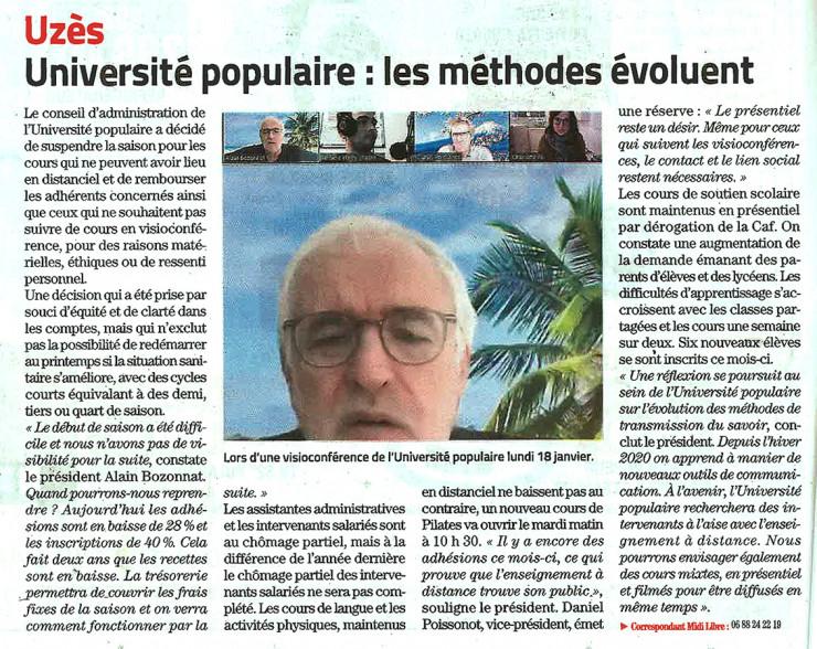 20/01 | Université populaire : les méthodes évoluent