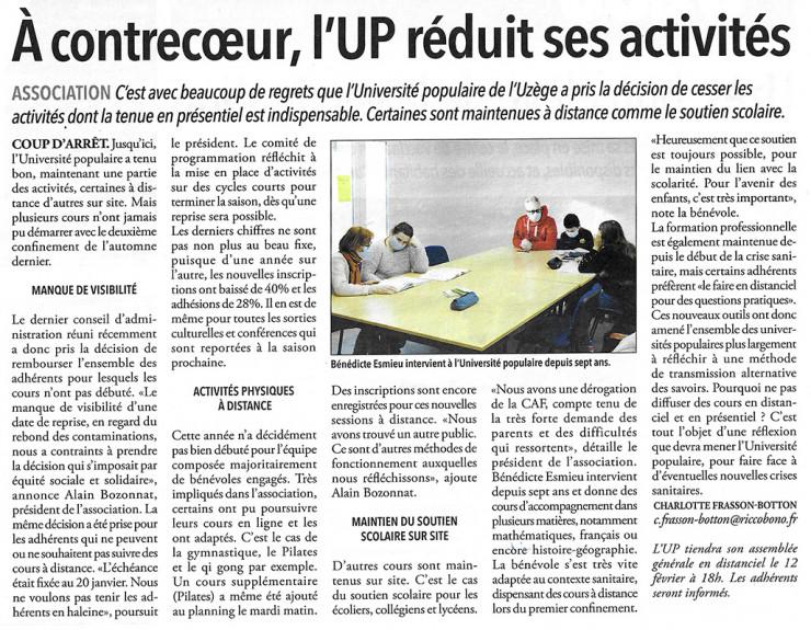 28/01 | À contrecœur, l'UP réduit ses activités